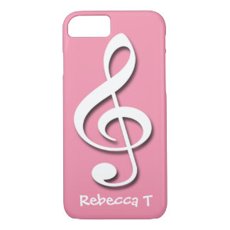 Treble Clef Pink personalized iPhone 7 case