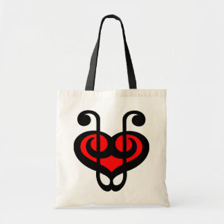Treble Clef Red Heart Bag