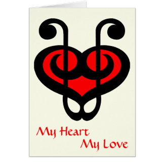 Treble Clef Red Heart Love Card