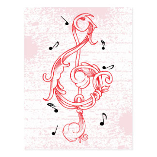 Treble clef red scrollwork sol note key postcard