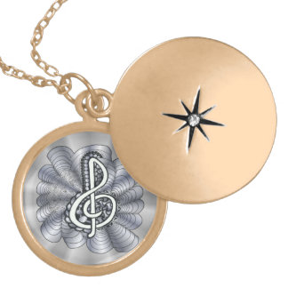 Treble Clef Silver Customizable Round Locket Necklace