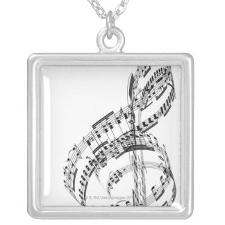 Treble Clef Silver Plated Necklace
