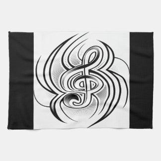 Treble clef tattoo design hand towel