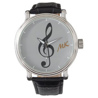 treble clef time music note watch