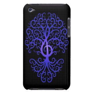 Treble Clef Tree, blue & black Barely There iPod Cases