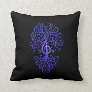 Treble Clef Tree, blue & black Pillow