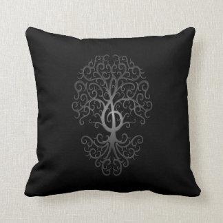 Treble Clef Tree, dark Throw Pillow