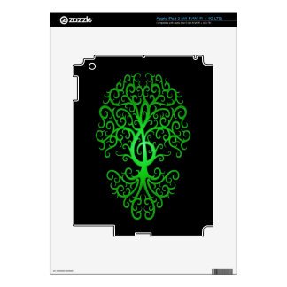 Treble Clef Tree, green & black Decal For iPad 3