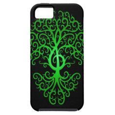 Treble Clef Tree, green & black iPhone 5 Case