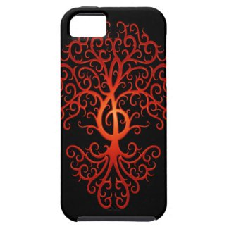Treble Clef Tree, red & black iPhone 5 Covers
