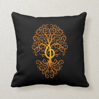Treble Clef Tree, yellow & black Throw Pillow