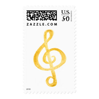 Treble Clef Watercolor Postage Stamp