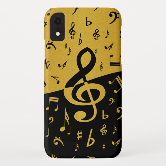 Treble Clef Wave Music Notes in Gold and Black iPhone XR Case