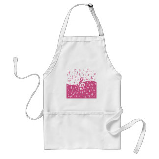 Treble Clef Wave Music Notes in Pink and White Adult Apron