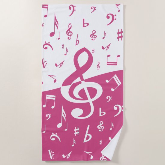 Treble Clef Wave Music Notes in Pink and White Beach Towel