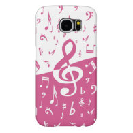 Treble Clef Wave Music Notes in Pink and White Samsung Galaxy S6 Cases