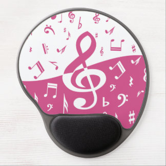 Treble Clef Wave Music Notes in Pink and White Gel Mousepads