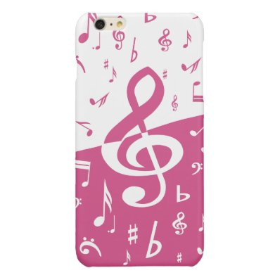 Treble Clef Wave Music Notes in Pink and White Glossy iPhone 6 Plus Case