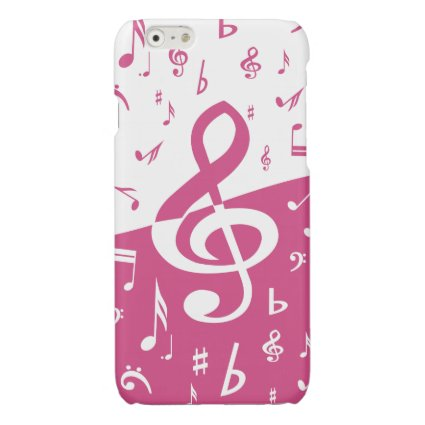 Treble Clef Wave Music Notes in Pink and White Glossy iPhone 6 Case