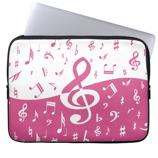 Treble Clef Wave Music Notes in Pink and White Laptop Sleeve