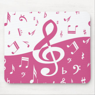 Treble Clef Wave Music Notes in Pink and White Mouse Pads