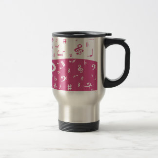 Treble Clef Wave Music Notes in Pink and White Mugs