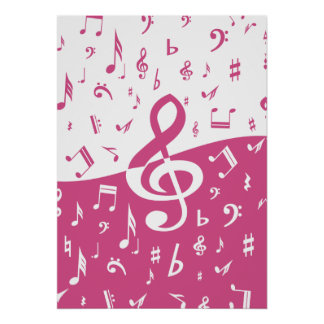 Treble Clef Wave Music Notes in Pink and White Print