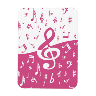 Treble Clef Wave Music Notes in Pink and White Rectangular Photo Magnet
