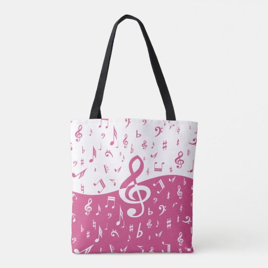 Treble Clef Wave Music Notes in Pink and White Tote Bag