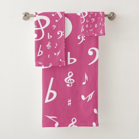 Treble Clef Wave Music Notes in Pink Bath Towel Set