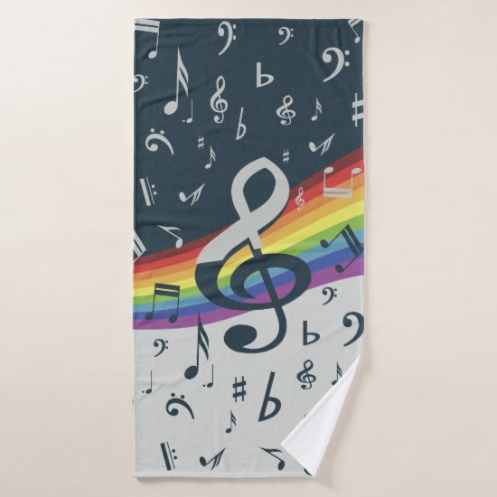 Treble Clef Wave Rainbow Colors Bath Towel Set