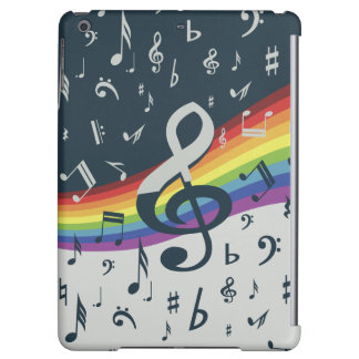 Treble Clef Wave Rainbow Colors Cover For iPad Air