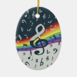Treble Clef Wave Rainbow Colors Double-Sided Oval Ceramic Christmas Ornament