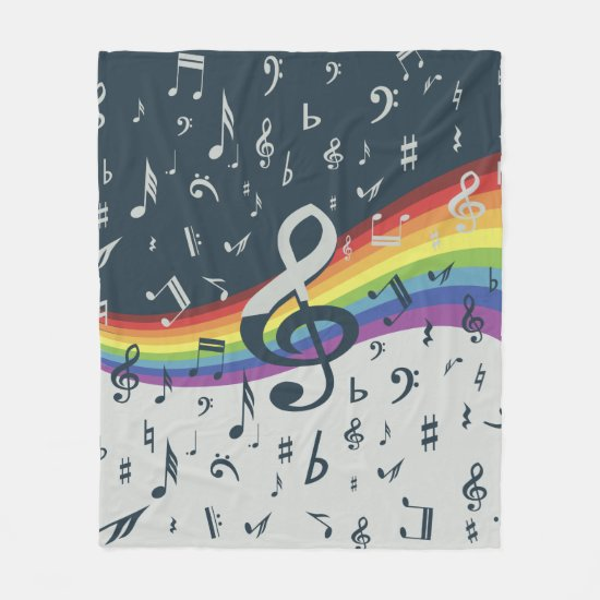 Treble Clef Wave Rainbow Colors Fleece Blanket