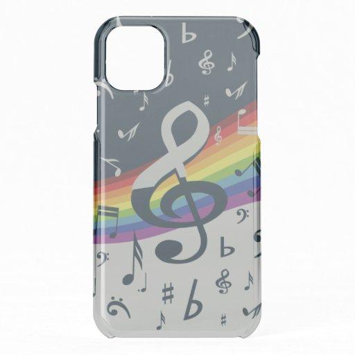 Treble Clef Wave Rainbow Colors iPhone 11 Case