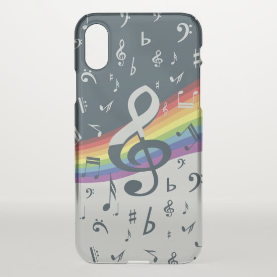 Treble Clef Wave Rainbow Colors iPhone XS Case