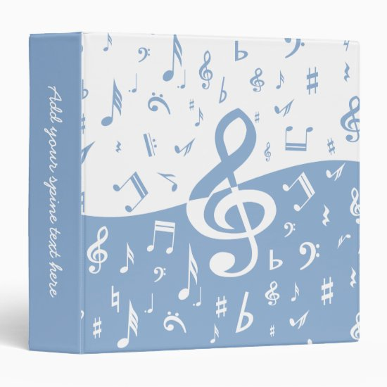 Treble Clef Wave Sky Blue and White 3 Ring Binder