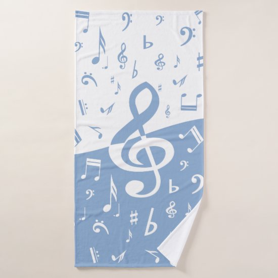 Treble Clef Wave Sky Blue and White Bath Towel Set