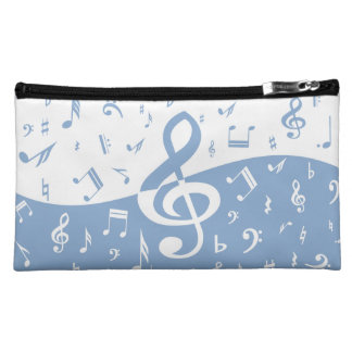 Treble Clef Wave Sky Blue and White Cosmetic Bag