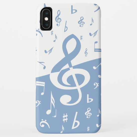 Treble Clef Wave Sky Blue and White iPhone XS Max Case