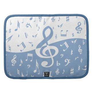 Treble Clef Wave Sky Blue and White Folio Planner