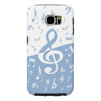 Treble Clef Wave Sky Blue and White Samsung Galaxy S6 Cases