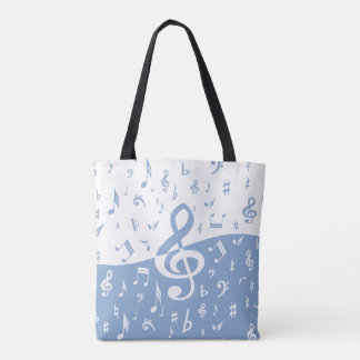 Treble Clef Wave Sky Blue and White Tote Bag