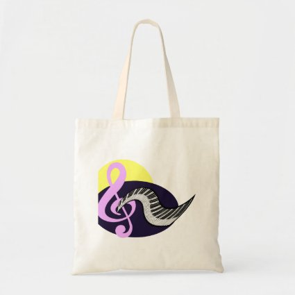 Treble Clef with keyboard graphic Canvas Bags