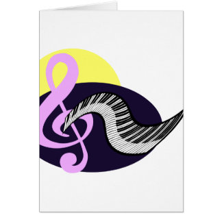 Treble Clef with keyboard graphic Card