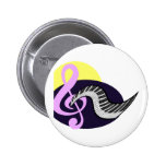 Treble Clef with keyboard graphic Pinback Buttons