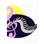 Treble Clef with keyboard graphic Post Card