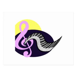 Treble Clef with keyboard graphic Postcard