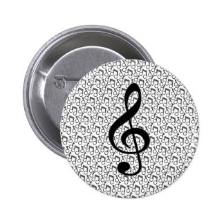 Treble Clef with Music Notes Black and White Pin