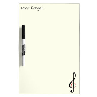 Treble clef with shiny pink heart Dry-Erase board